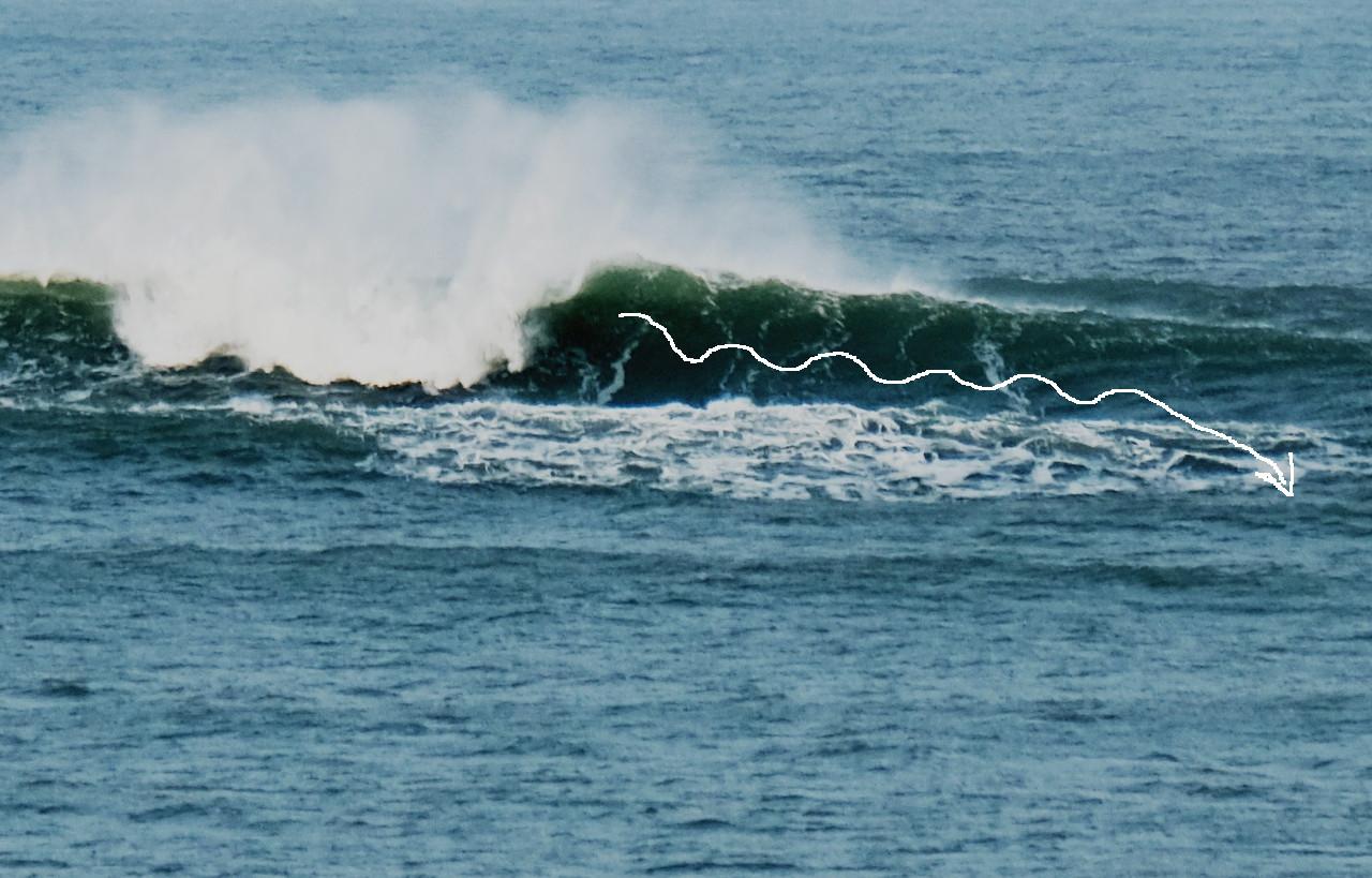 In welcher Linie die Welle abreiten beim Surfen, Fortgeschrittene Surfer,