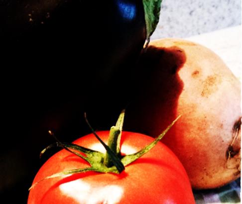 Süßkartoffel-Auberginen-Tomaten-Türmchen mit Blitz-Guacamole 1
