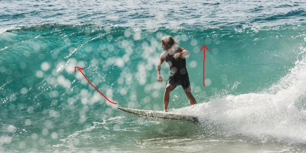 Pumpen beim Surfen für Geschwindigkeit