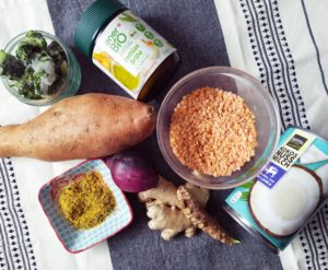 Indisches Dahl mit Süßkartoffeln
